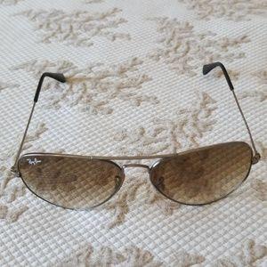 Ray-ban Aviator Silver Frame Brown Sun Glasses